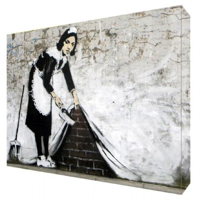 Banksy Maid Canvas Art - Choose your size - Ready to Hang - Free P&P